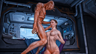Horny alien invades busty chick's spacecraft to probe her with his big dick.