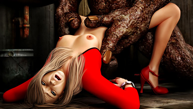 3d Monster Sex Riding Hood - Unsuspecting blonde gets fucked by a giant ugly monster in the toilet,  while her boyfriend