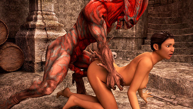 Searching around an old crypt for clues, a naughty detective stumbles on a well-endowed demon and bangs him real good.