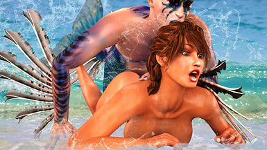 Deep underwater, no one can hear the screams of a beautiful babe as a merman plows her tight pussy.