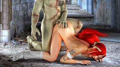 Horrendous Frankenstein's creature with a thick meat pole hammers a tight virgin pussy.